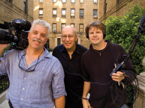 Cinematographer Peter Nelson, Adman George Lois, and director Doug Pray at Lois' childhood home in the Bronx, NY for the filming of ART & COPY. Credit: Michael Nadeau.